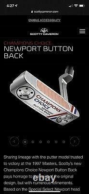 RH Titleist Scotty Cameron Champions Choice Button Back Newport 34 New In Bag